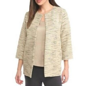 Eileen Fisher cream black textured blazer jacket